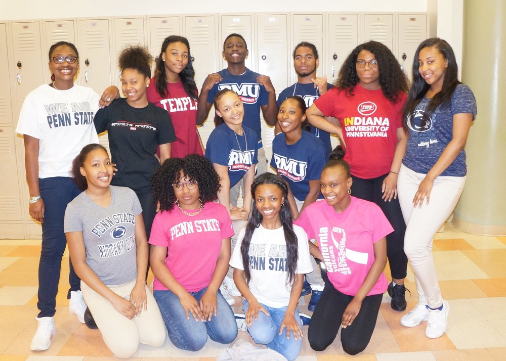 All Our Seniors with their College t-shirts