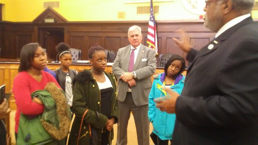 Allegheny County Council members talk to UPCS 6-12 students