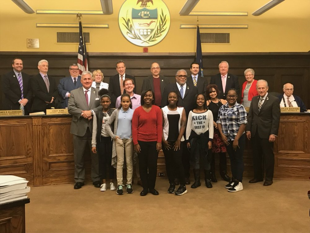 UPCS 6-12 Middle School Student Council with Allegheny County Council at the county council meeting