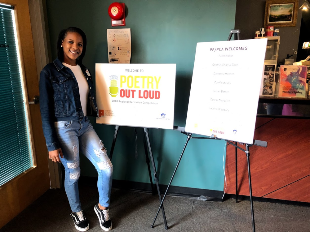 Dametria representing UPCS 6-12 at the Poetry Out Loud Regional Competition 2018
