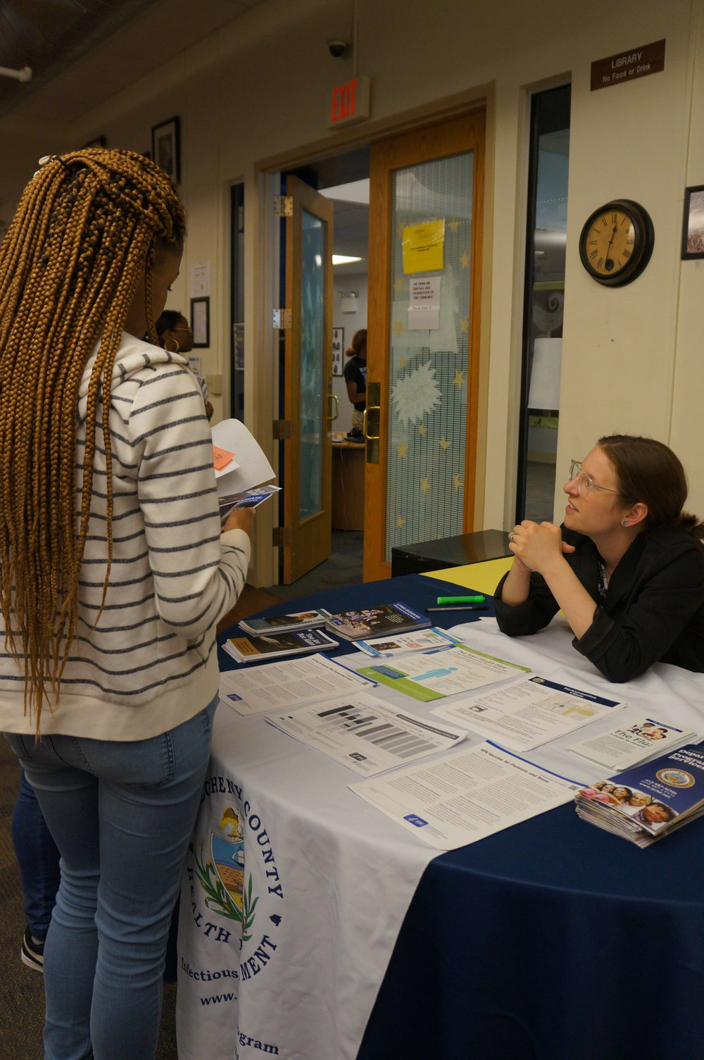 The Allegheny County Health Department explains their services to UP students at the 6-12 Health Fair
