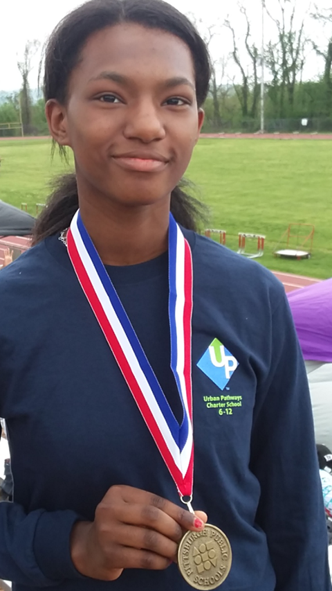 Amber is the City League 100m hurdles champion