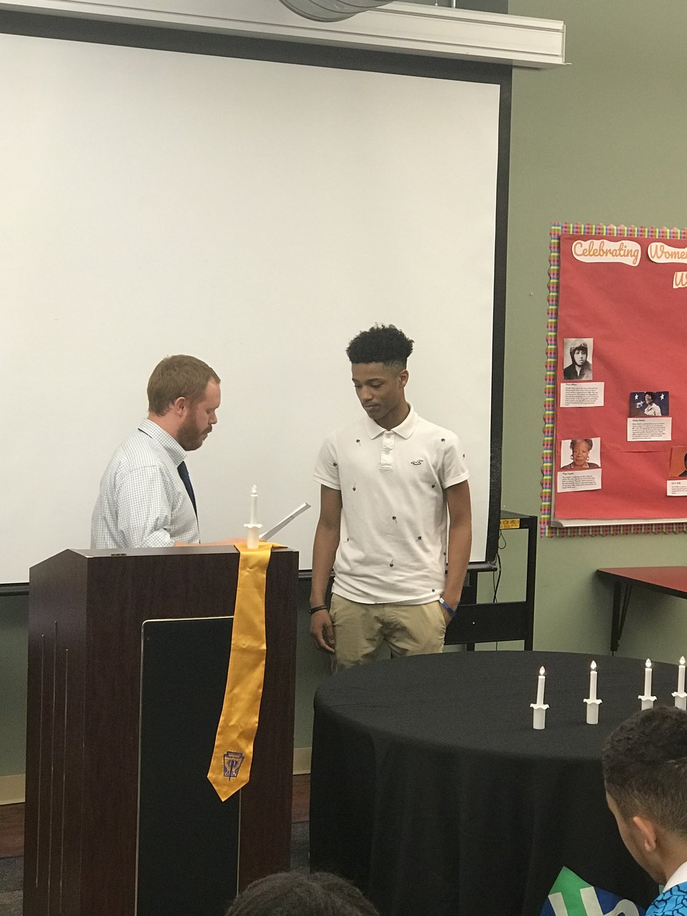 Mr. Mutschler welcomes Darnell to NHS at UPCS 6-12