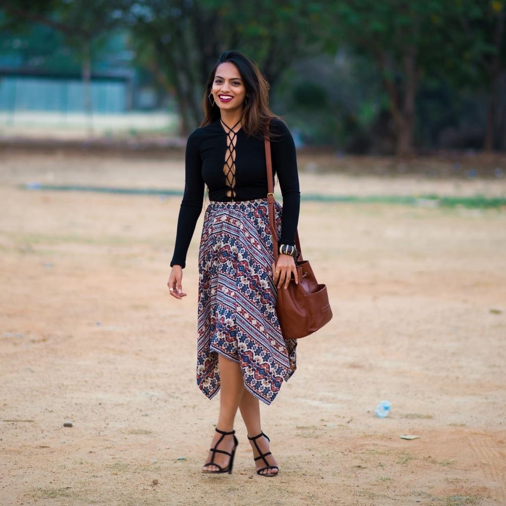 On Samta : Shift Dress - Forever 21, Sandals - Jabong ; On me : Top - Reformation , Skirt - Jabong, Sandals - ASOS ; Both the bags - Hydes Studio .