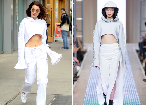 Bella Hadid in Are You am I lace top