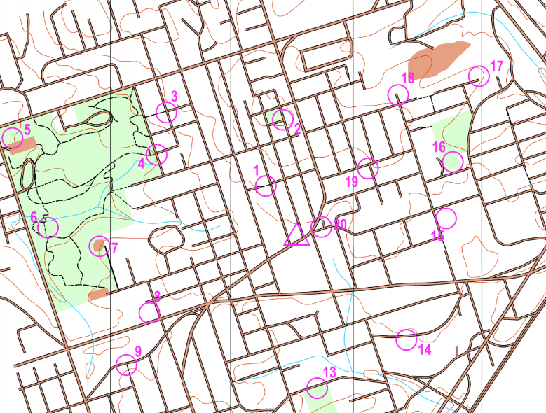 Multnomah Village permanent orienteering course map example