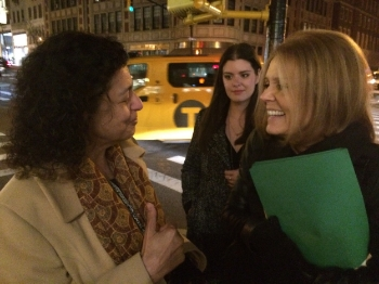On the street corner with Gloria Steinem