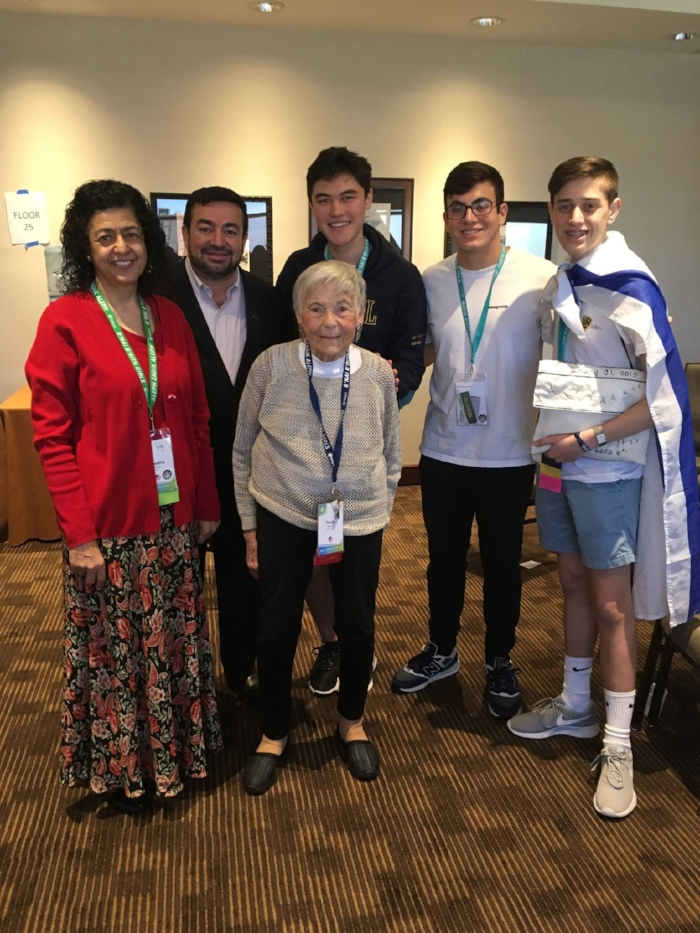 Trudy Album is a holocaust survivor. Here w Imam Abdullah Antelpi, & the teens.