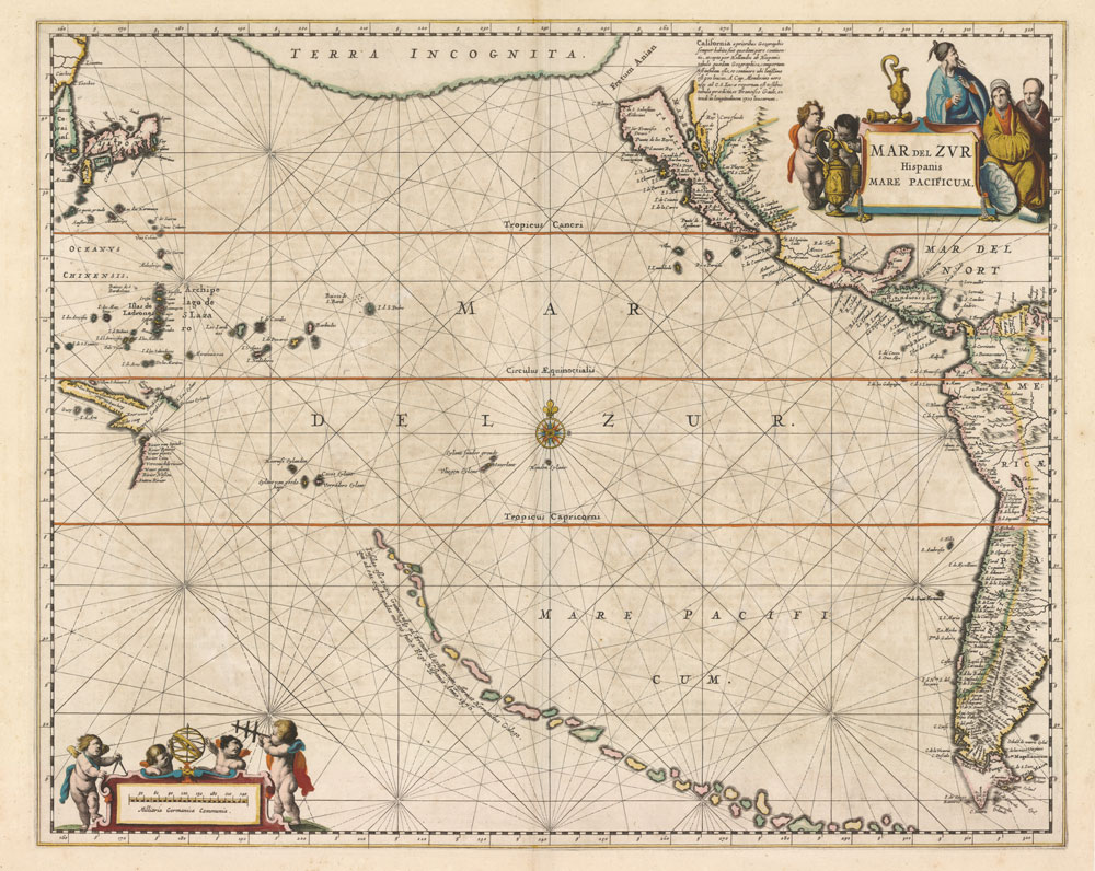 Jan Jansson, Chart of the Pacific Ocean, 1650.