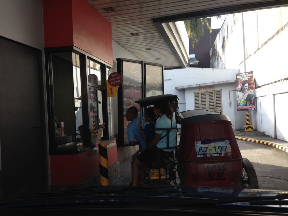 Drive thru at Jollibee in a tricycle