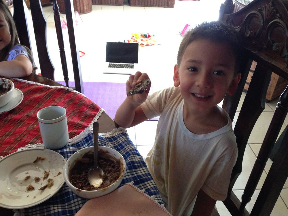 Look Grandma! Chocolate porridge with dried fish! What's weird about that?!?