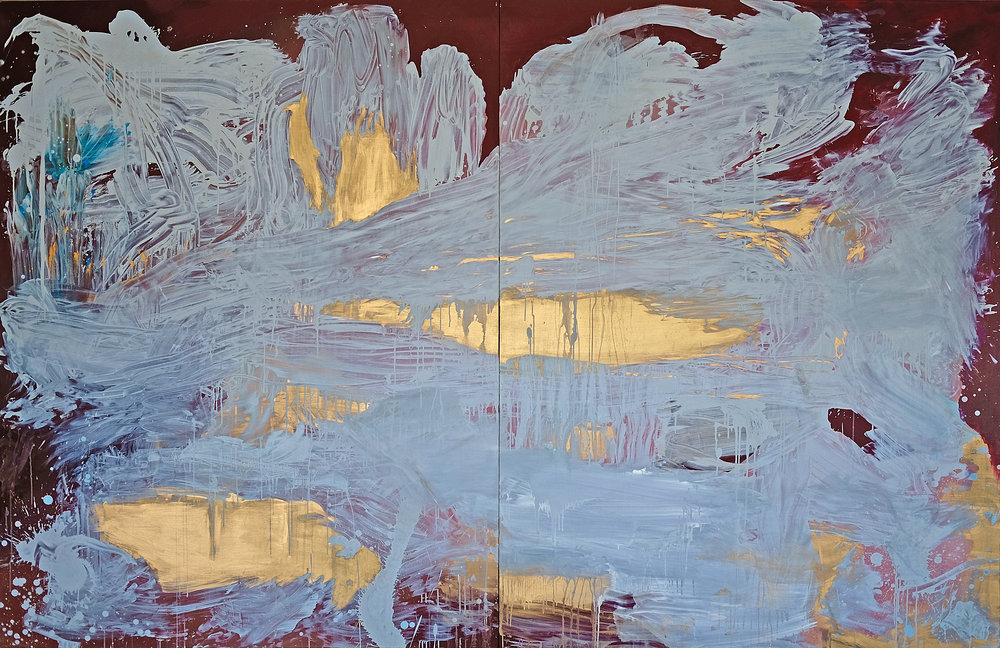 "Cartes et Figures de la terre, fig.7. ""La source"", 198 x 306 cm, mixed medium on linen canvas"