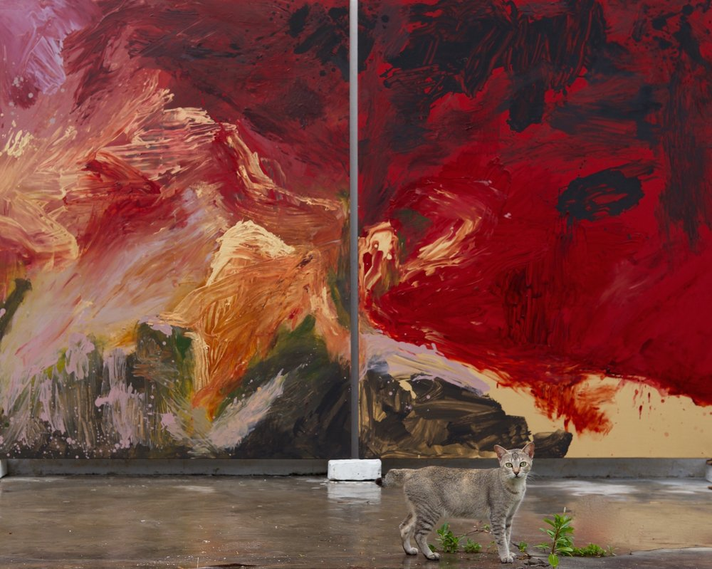 """Windsor, the cat in front of """"Vulcano"""", 198x306 cm, diptych composed of 2 panels (198x153cm), mixed media on canvas."""