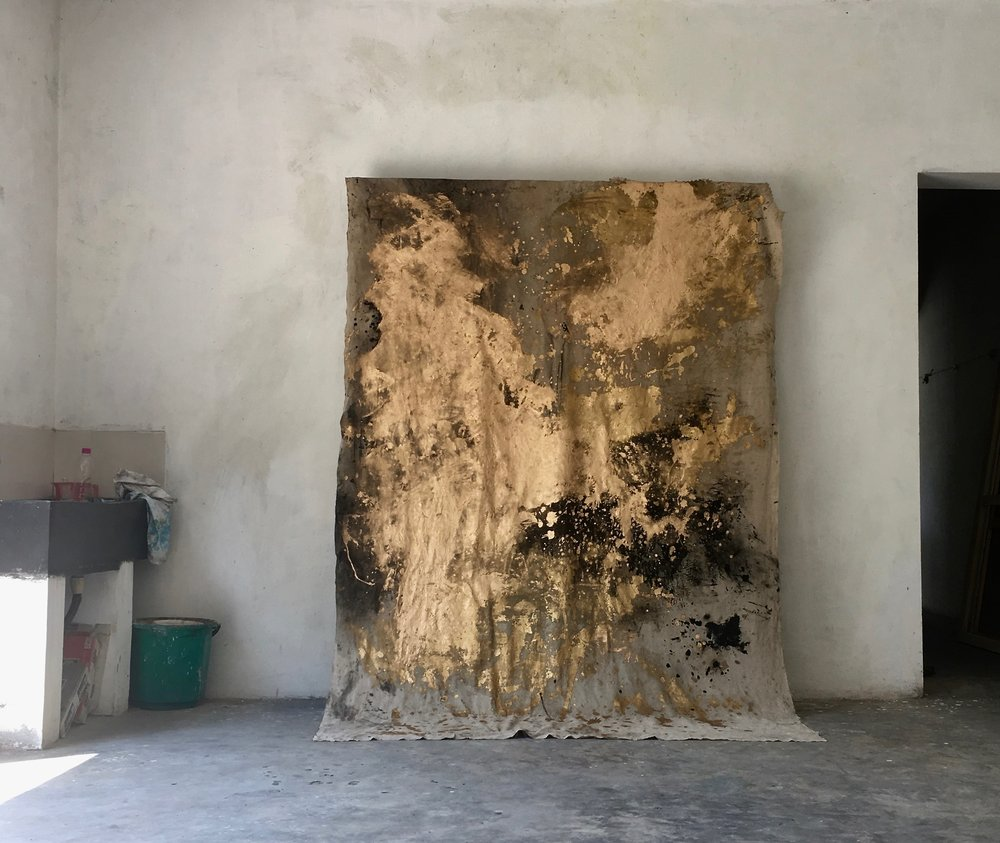 """Terre sacrée""-1  - 210 x 168 cm - mixed media on linen - Atelier de Kottakupam, Puducherry, India."