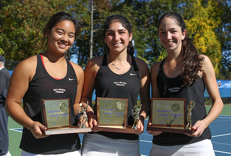 Sydney Zirlin (pictured at center) with her senior teammates Isabella Wuang and Stephanie Schrage. (photo credit: NJ.com)