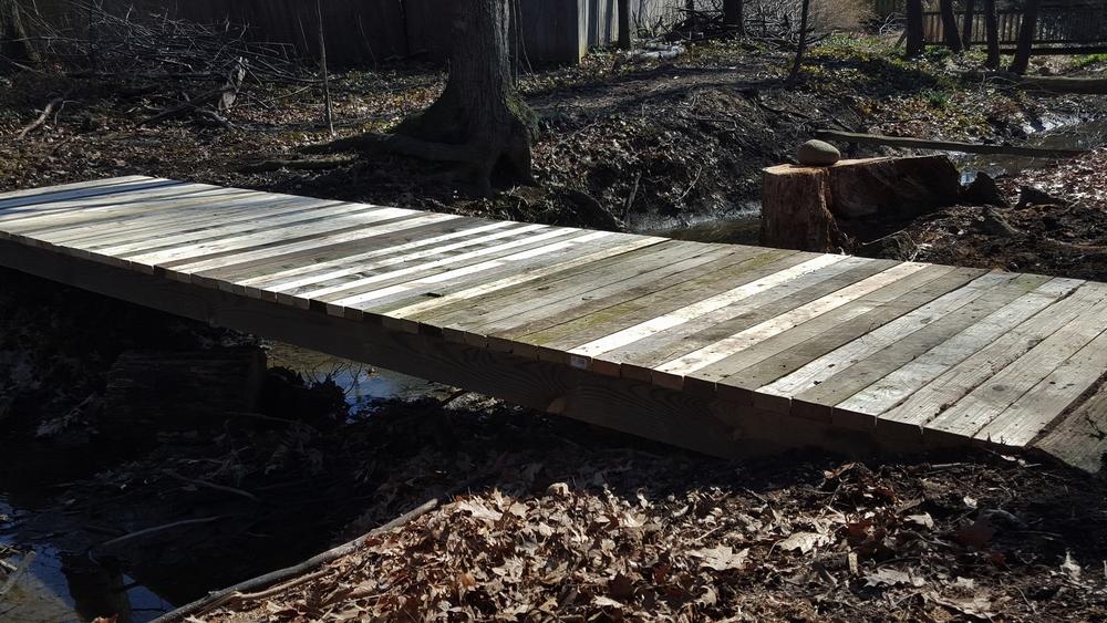 Finished bridge over creek.