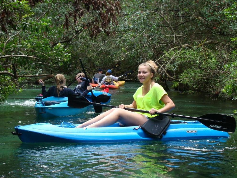 Participants on a guided, interpretive kayak trip on the Weeki Wachee River (Hernando County, Florida; photograph by GLH)