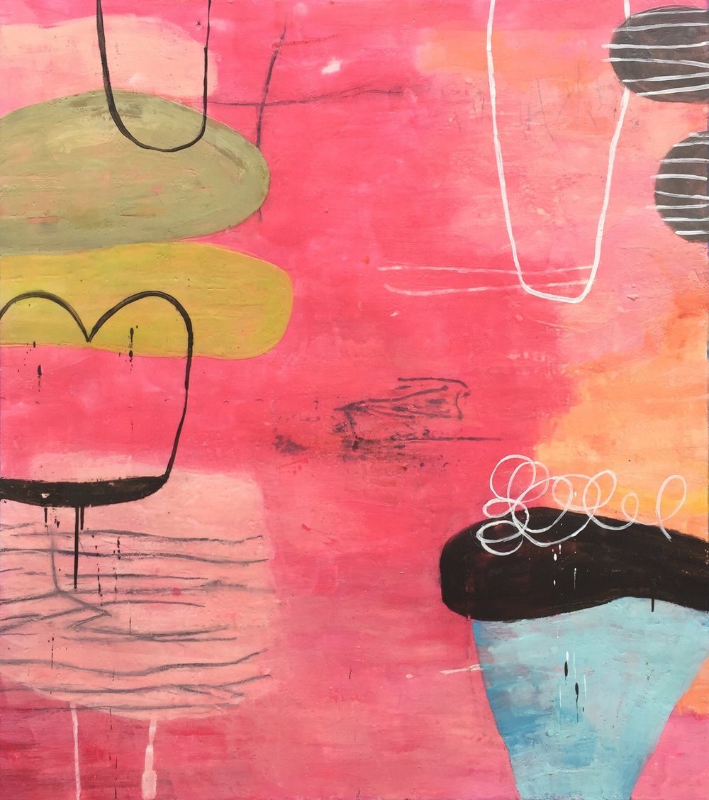 Untitled L858 46 x 41  encaustic on Paper