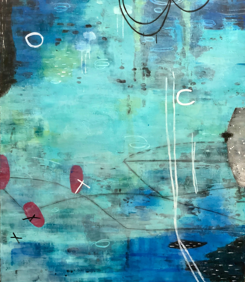 Untitled HB248 48x42 encaustic on panel