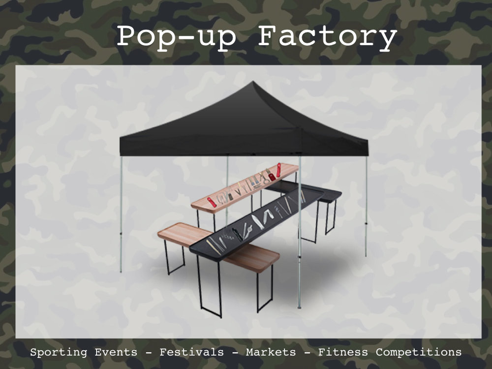 Intersect solvers at events with pop-up factories, where they can see all the components of a pocketknife and make a custom knife.  Digital versions of The Factory could live in the platform and on social.