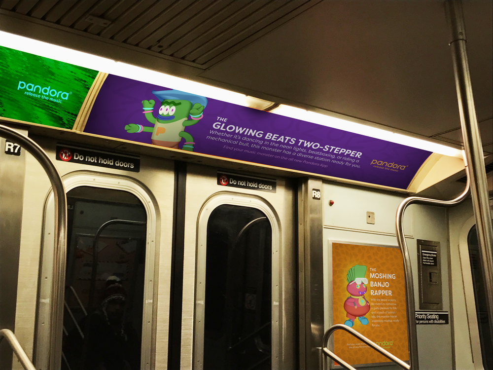 Public transit ads, like this subway print, target in-transit listeners