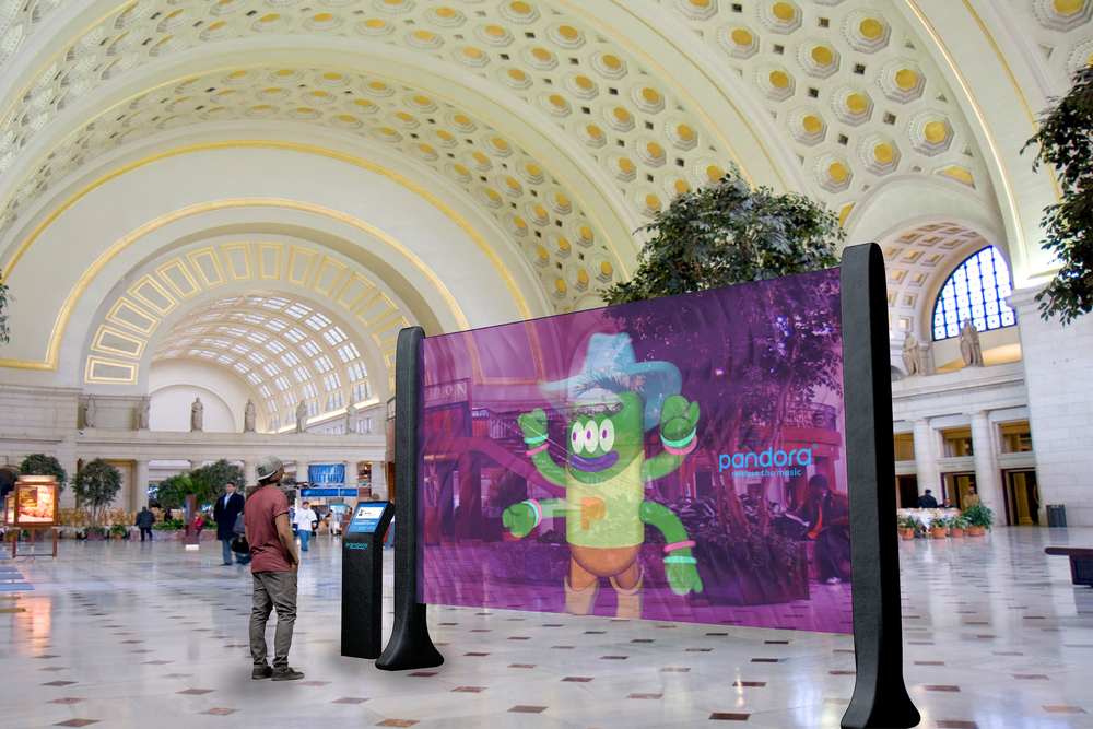 Digital walls at train stations and airports let listeners interact with their monsters