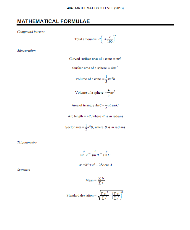 o level maths standard formula sheet kenneth full time tutor