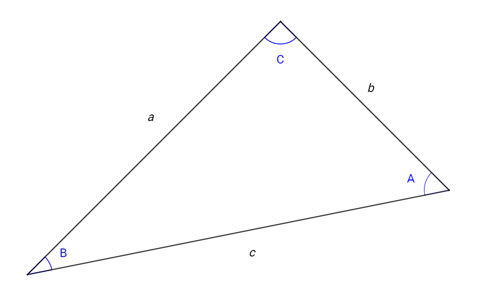 Triangle with angles a, b and c