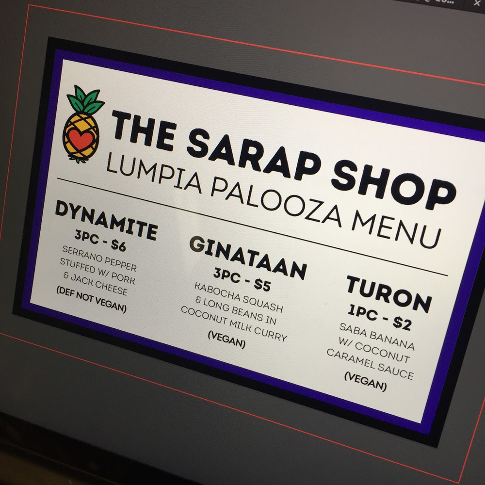 Our original Lumpia Palooza menu.