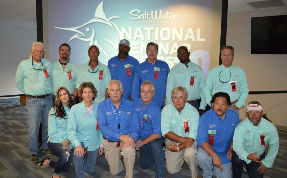 February 2018 - Capt Eddie (2nd from left) invited as a guest speaker with George Poveromo and friends at the Saltwater Sportsman magazine  National Seminar Series  at Daytona International Speedway
