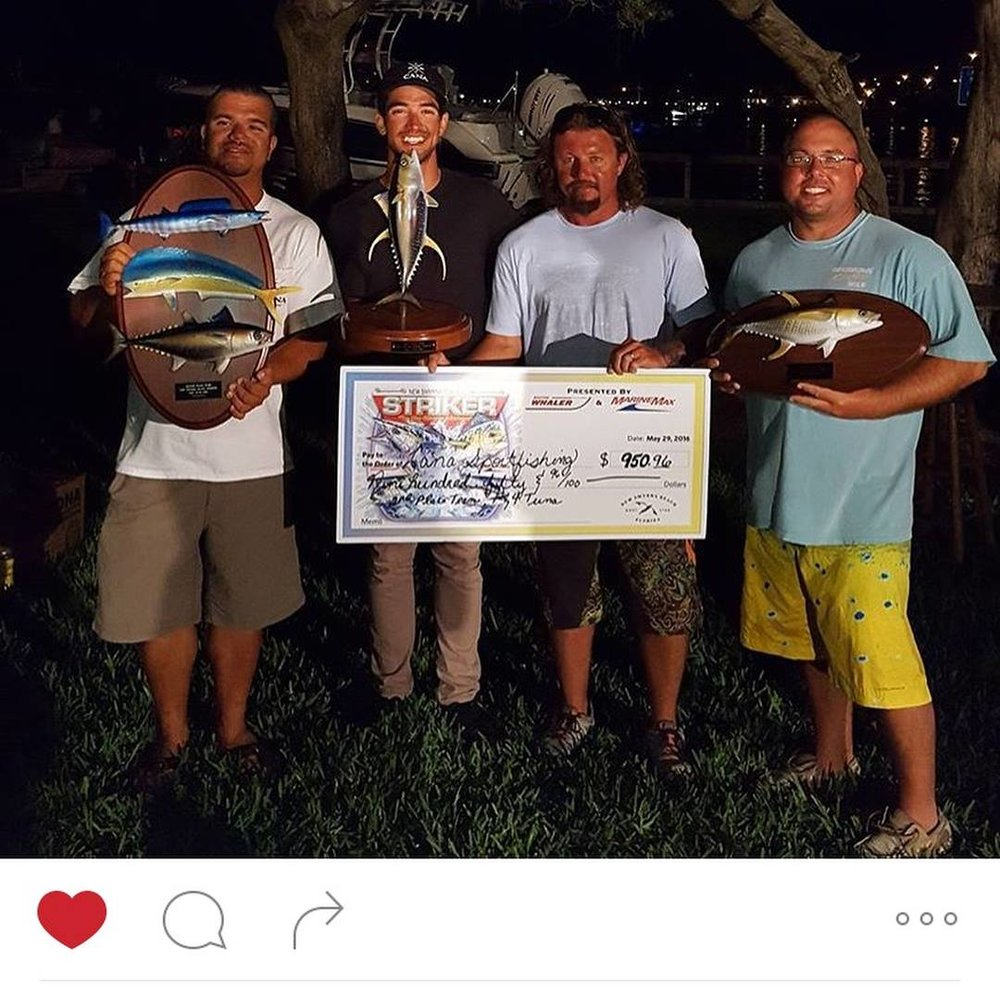 Tournament wins with charter clients like 2nd Place - 40th Annual FishStock with trophies in several categories