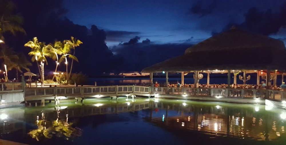 Islamorada Fish Co Restaurant at night… best waterside dining experience in the Keys!