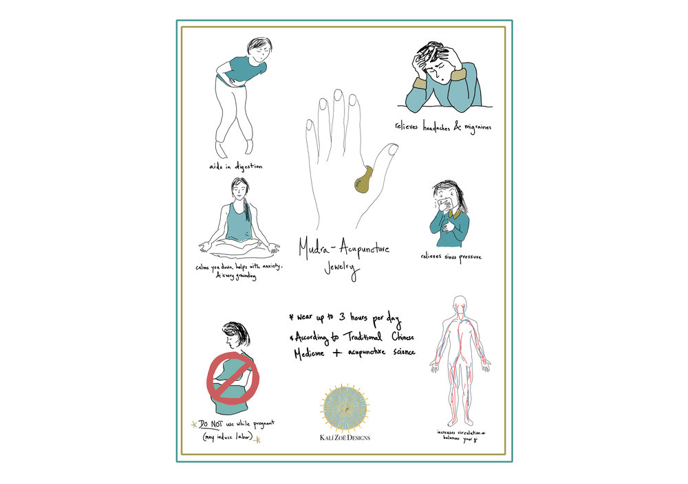 *all based on acupressure and not intended to replace medical care or medical advice*do not wear a Mudra if expecting - the LI4 point is contraindicated during pregnancy*