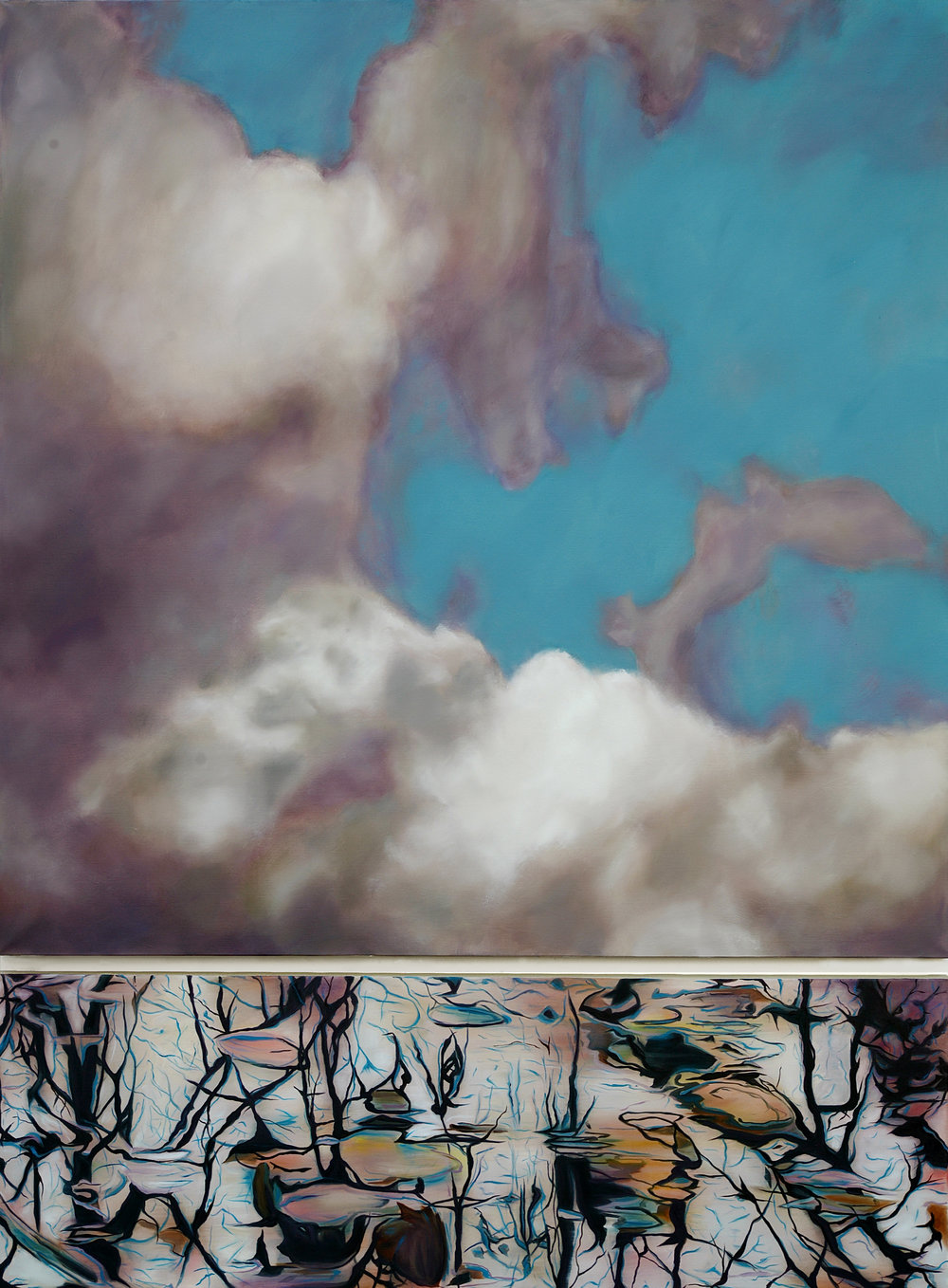 Elévation,  2016  oil on linen, diptych, 84 x 63 in, 213 x 160 cm
