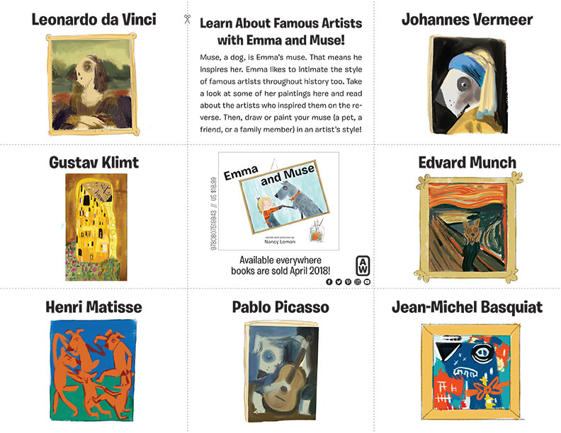 Teaching Tools - Emma & Muse Artist Fact CardsSimply download and print out for a quick art history lesson, and try to spot all of the paintings which are scattered through the book! Art lesson activity also included.