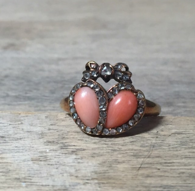 Amazing coral and diamond double heart ring from  Victoria V. Vintage .
