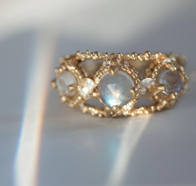The prettiest moonstone and white sapphire ring by Polly Wales. Available at  Catbird .