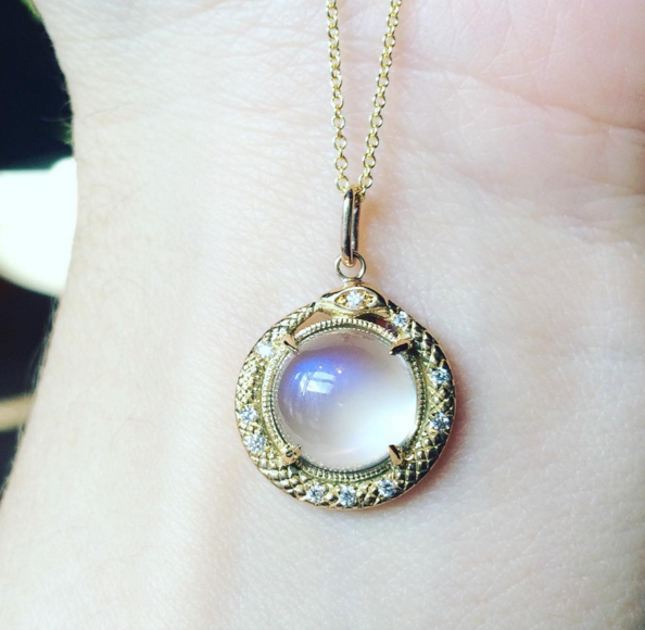 Gorgeous moonstone pendant by  Nora Kogan .