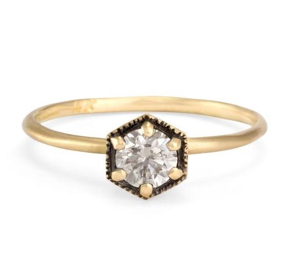 Satomi Kawakita Grey Hexagon Diamond Ring