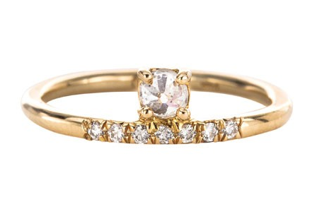 Mociun Stacked White Diamond Ring