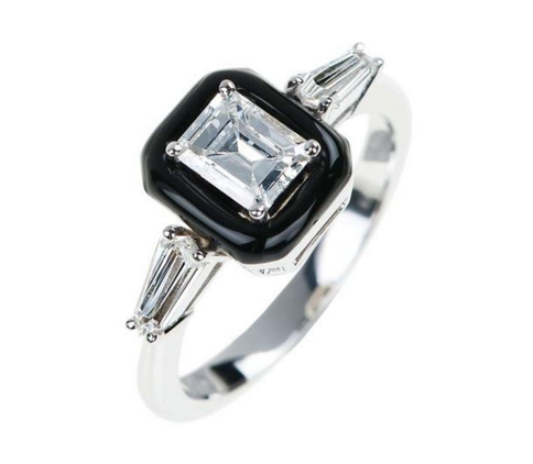 Nikos Koulis Black Enamel Engagement Ring