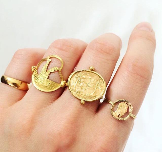 Rachel Eardley Coin rings, photo by GemstoneGypsy.