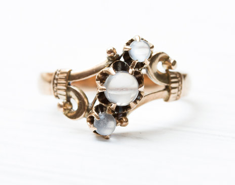 Victorian Triple Moonstone Ring