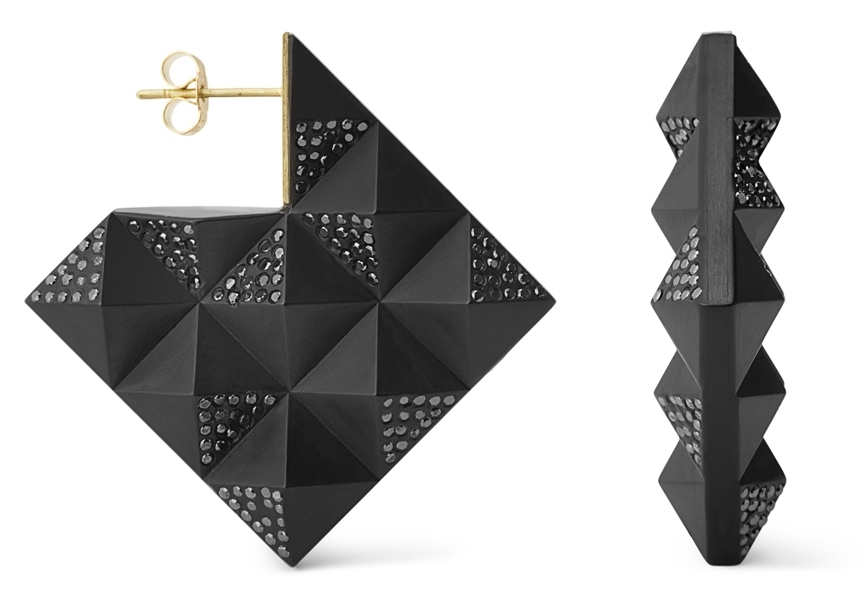 Rachael_Taylor_03-2016_LonFW_Double-sided Pyramid earrings in Whitby Jet set with black diamonds by Jacqueline Cullen.jpg