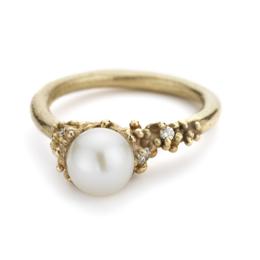 Pearl Encrusted Ring with Diamonds - 14ct yellow gold.jpg