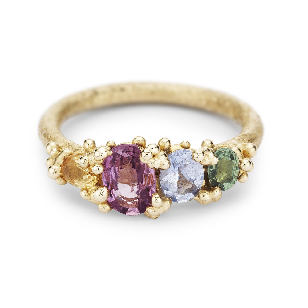 Four Stone Sapphire Ring with Granules - 14ct yellow gold.jpg