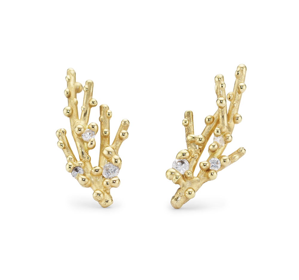 Diamond Coral Studs with Granules - 18ct yellow gold.jpg