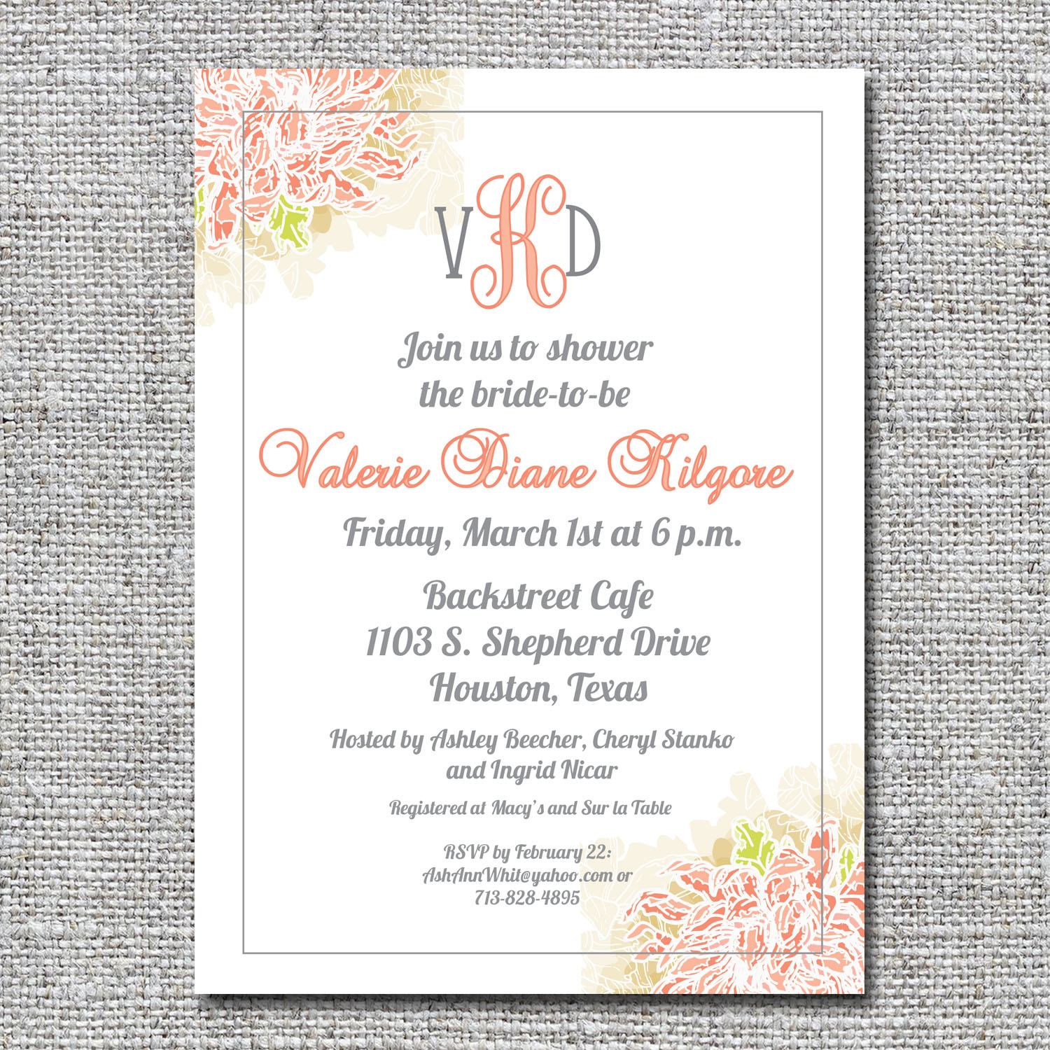 floral monogram bridal shower invitation
