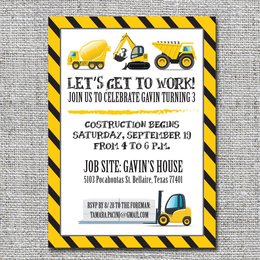 Construction birthday invitation nine0nine creative