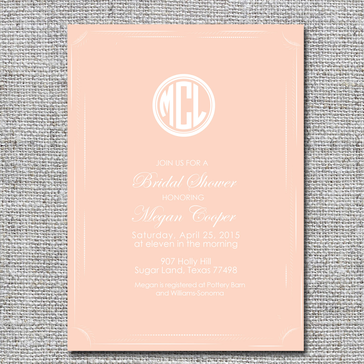 monogram bridal shower invitation